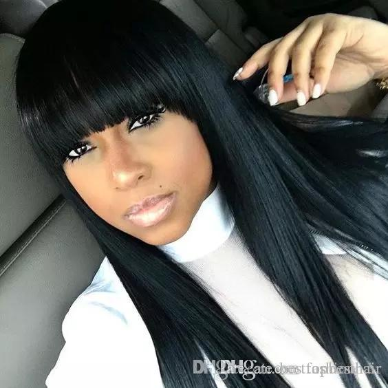 Long Straight Bang Wig Black Women Human Hair Wig With Full Bangs Silky  Straight Brazilian Full Lace Wig Bleached Knots Short Full Lace Wig Wigs On  Sale ... 1c9bd86811