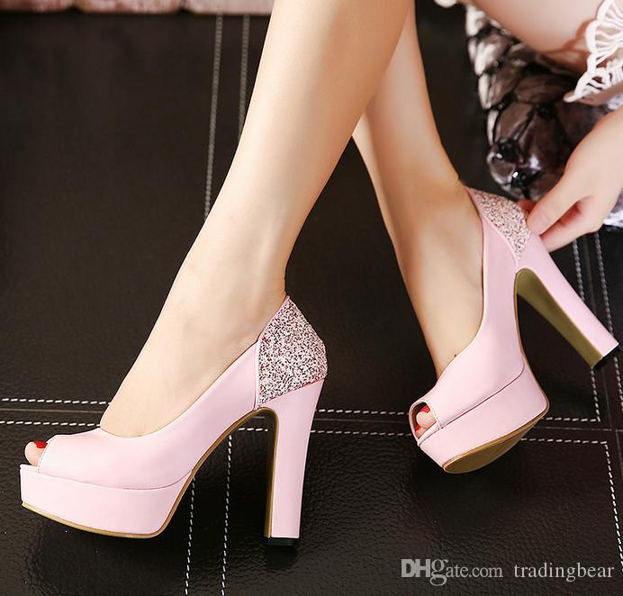 ef10def25bbc Elegant Sexy Ladies Dress Shoes Glitter Sequined Pink White Thick Heels  Ballroom Dance Shoes Size 34 To 39 Boat Shoes Shoes For Men From  Tradingbear
