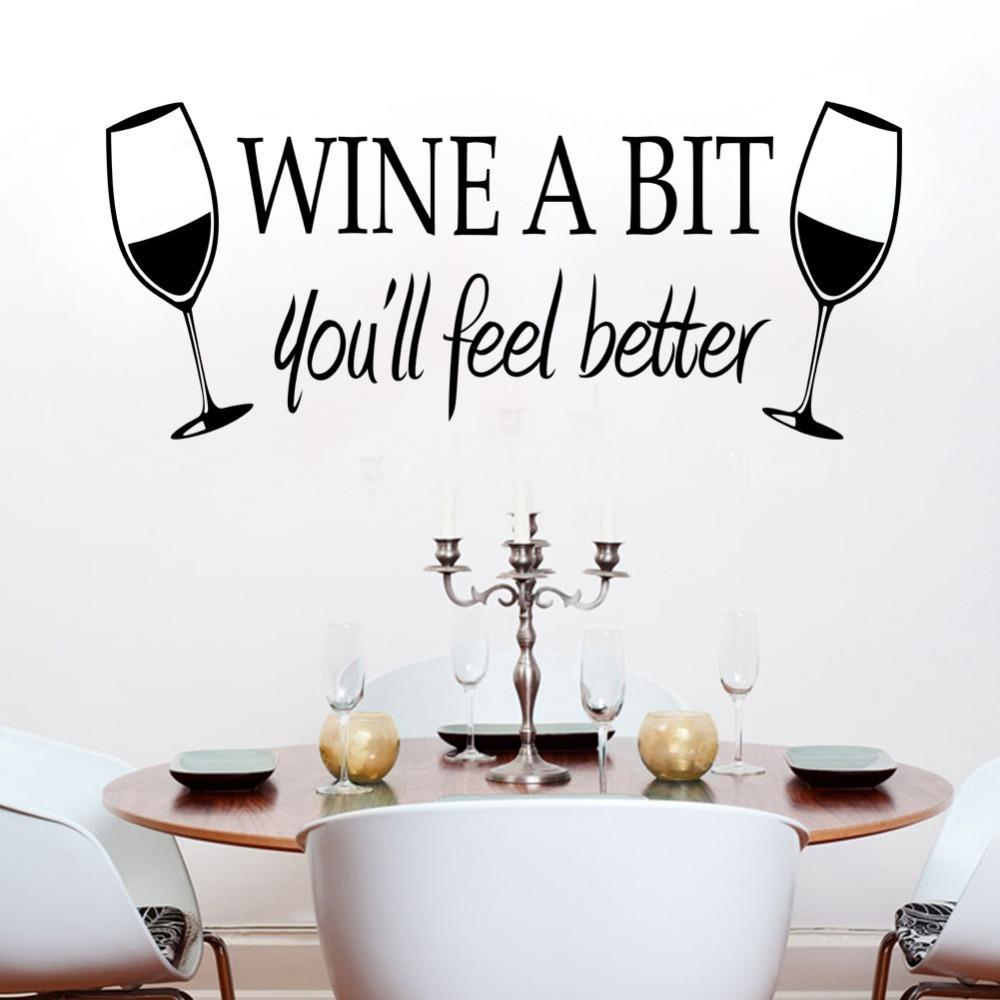 saloon dining room bar wall stickers quotes wine a bit you will