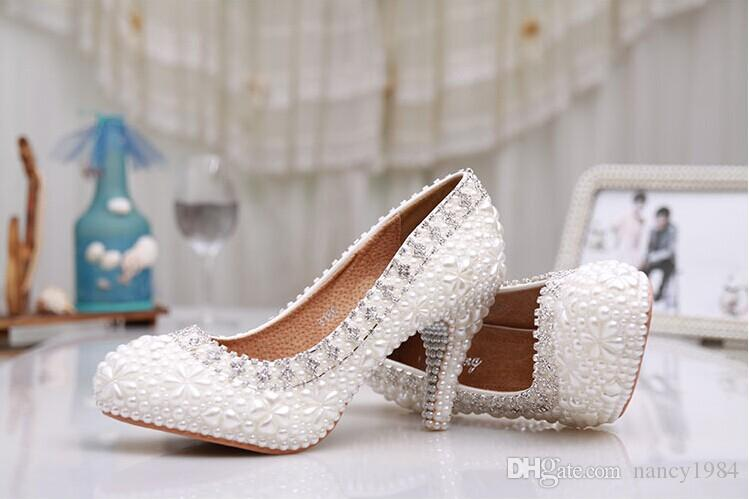 Luxury Pure White Pearl Wedding Shoes 3 Inches Comfortable Round Toe Antislip Bridal Dress Shoes Valentine Gift Party Prom Shoes