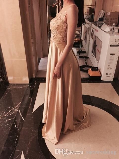 2018 New Lace Satin Sheath Evening Dress With Embroidery Floor Length O Neck Evening Gown Champagne Color