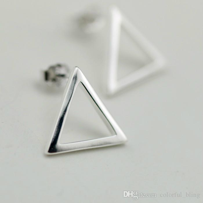 2018 Vintage Silver Stud Earring Simple Brief Design Triangle ...