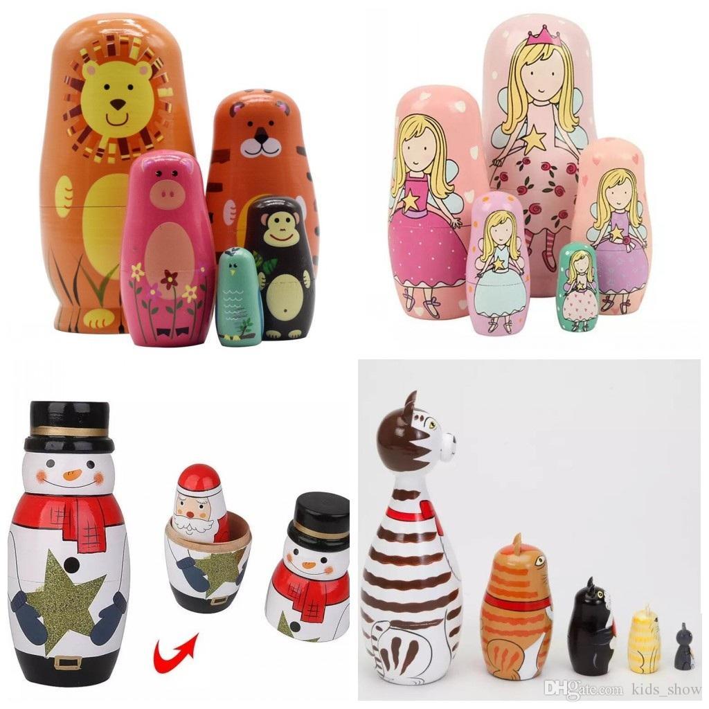 5 unids / set hecho a mano pintura artesanal muñeco de nieve Papá Noel pintura de madera Animal de la jerarquización muñeca Matryoshka juguete ruso decoración del hogar regalos de Navidad
