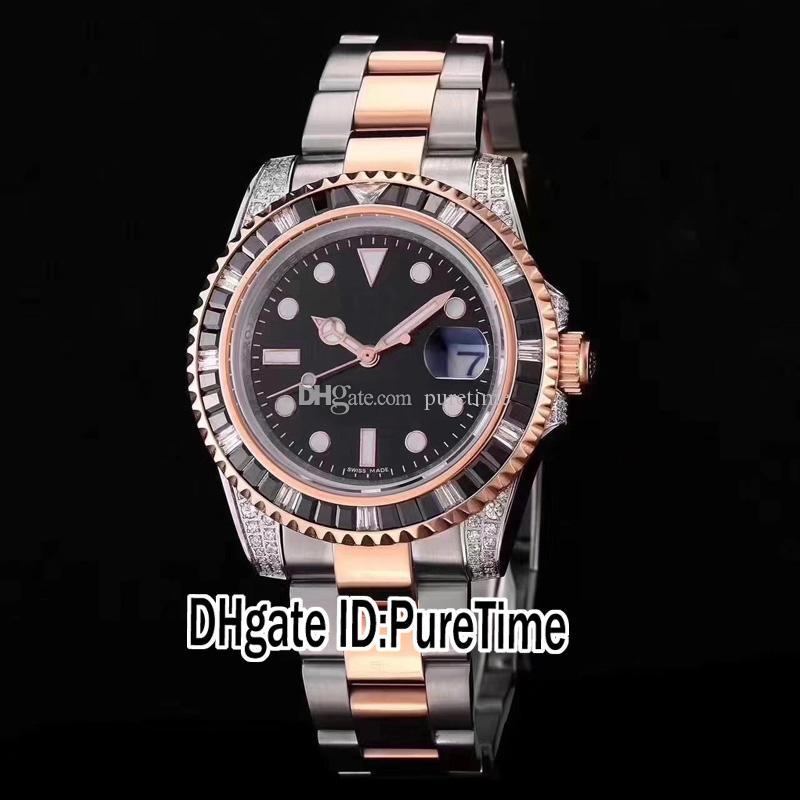 Alta Calidad De Dos Tonos De Oro Rosa Cuadrado Coloreado Diamante Bisel Esfera Negra Japón Miyota 8215 Automático Para Hombre Reloj Zafiro Luminoso