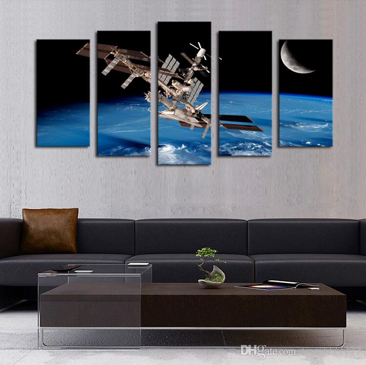 High Quality Canvas Art 5 Panel Outer Space Satellite Painting Home Decor Unframed Gift Painting Hot Sale