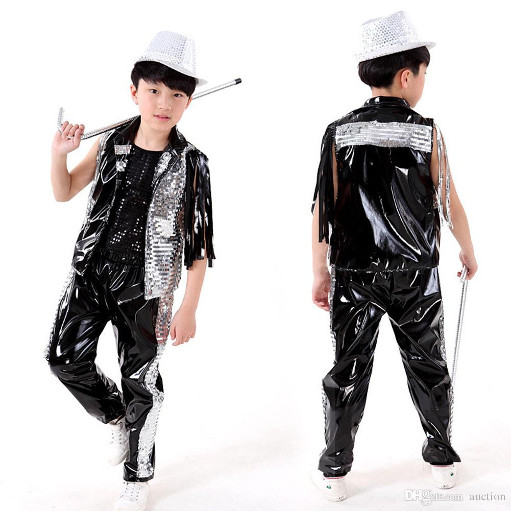 f8fad908b Kids Costumes School Rapper Glitter Girls Jazz Clothes Hip Hop ...
