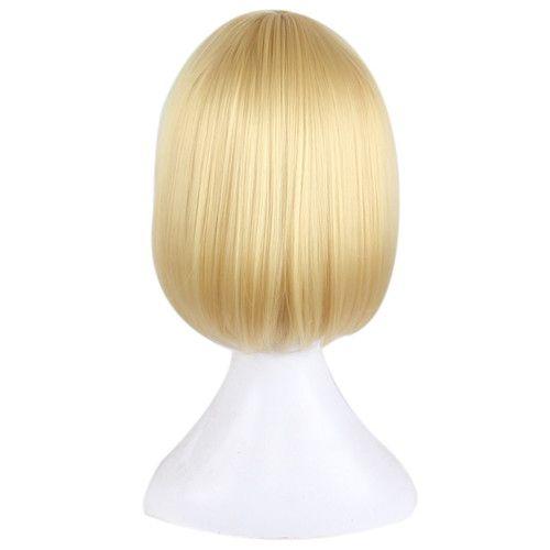 Cosplay Peluca Corta Animación Bob Pelucas de pelo Peluca lateral para Rubia Azul Colorida peluca sintética
