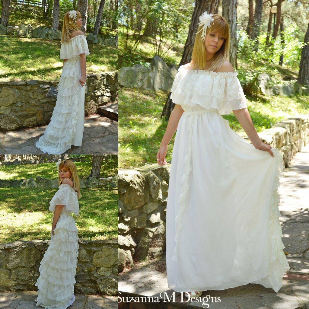 Spanish ruffle lace wedding dress