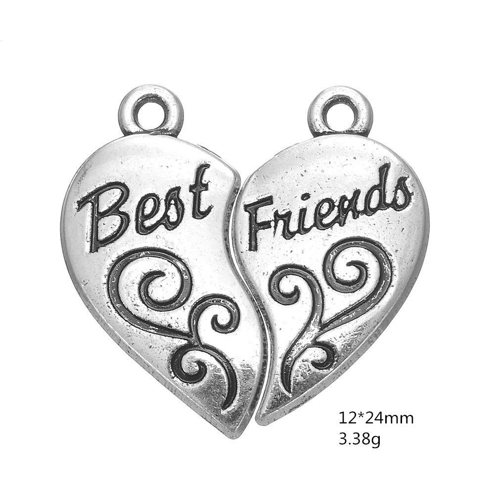 =Antique Silver Plated Words Best Friends Detachable Heart Charm Hot Sell Charm DIY Necklaces&Bracelets