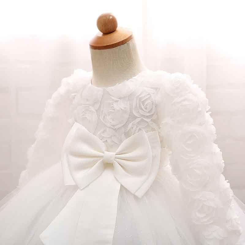 Princess Party Ball Gown Fashion Hollow Red Rose Long Sleeve Chiffon Ruffle Tutu Dress Romantic Valentine's Day Baby Girls Clothing Dress