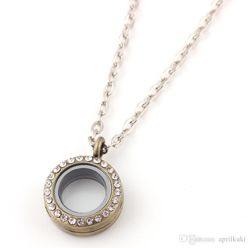 Round Pendant Magnetic Floating Locket Glass Living Memory Locket Necklaces with Rhinestone Charms 20mm Christmas Gift