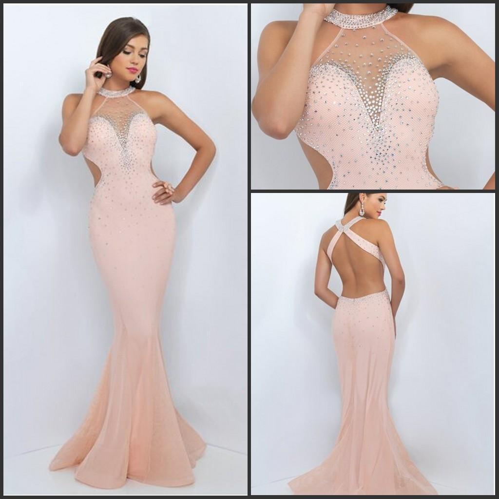 Sexy Back Long Blush Prom Dresses Mermaid Evening Gowns Jewel Beaded ...