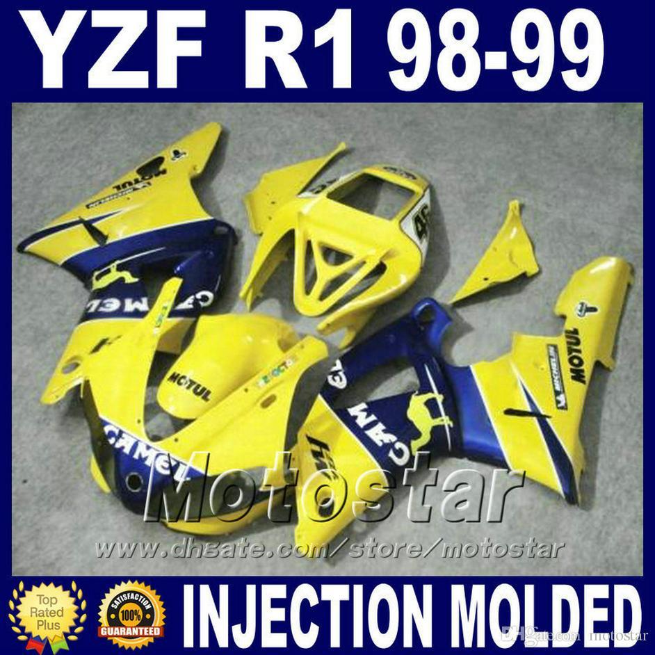 High quality for YAMAHA R1 fairings 1998 1999 yellow blue camel body kit 98 99 yzf r1 fairing kits bodywork set M9D2 bodywork
