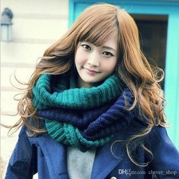 Fashion Winter Warm Two Tone Dual Color Cowl Neck Circle Scarf Knit