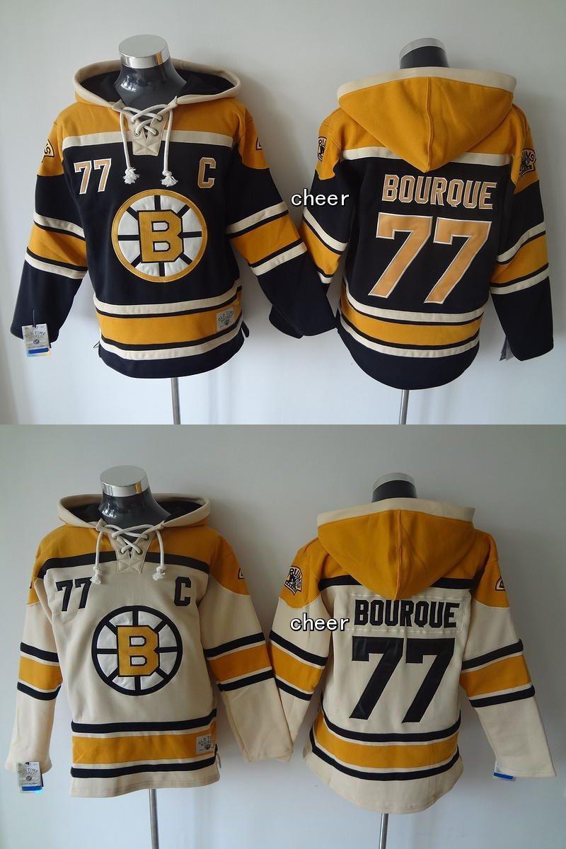 Boston Bruins # 77 bourque beige beige / schwarze mit Kapuze Trikots Hockey-Kapuzenpullis Jerseys-Sweatshirts der neuesten Großhandelsmänner, freies Verschiffen