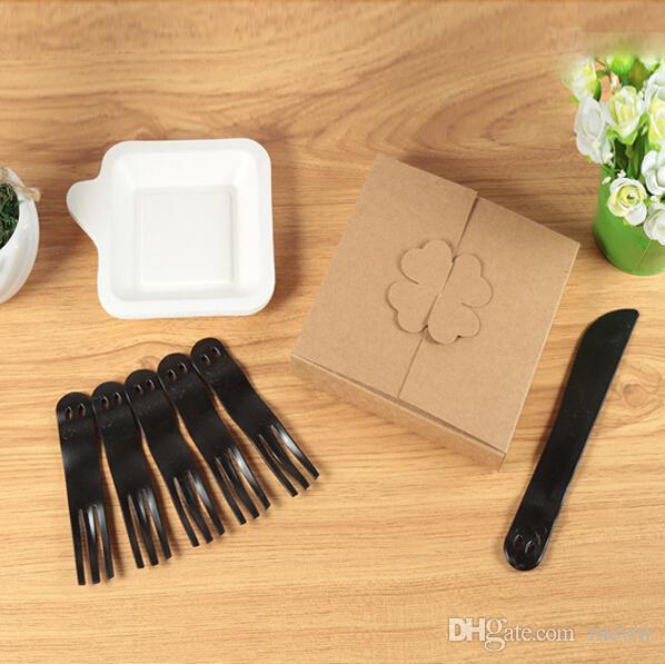 Plastic Fork Knife Plate Sets Cake Afternoon Tea Gift