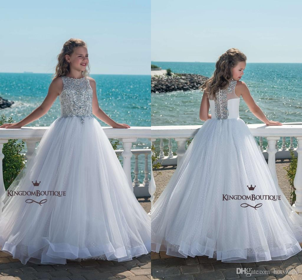 Sparkly White A Line Tulle Girls Pageant Dresses 2018 Sleeves Beaded ...