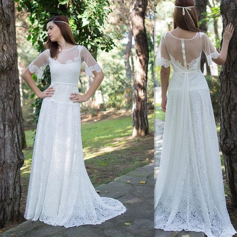 Discount Boho Wedding Dresses 2016 Half Lace Sleeves Sheer