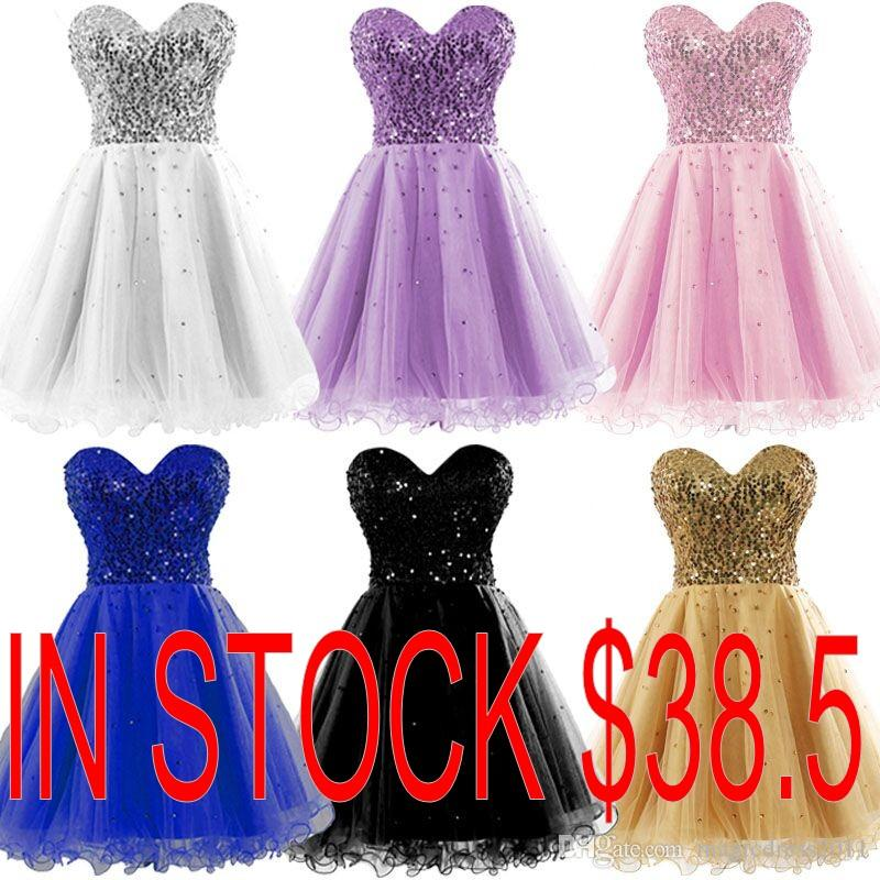 228c8daacc9 Lovely Homecoming Dresses 2015 Occasion Dress Gold Black Blue White Pink Sequins  Sweetheart Short Cheap Cocktail Party Prom Gowns Real Image Dress Stores ...