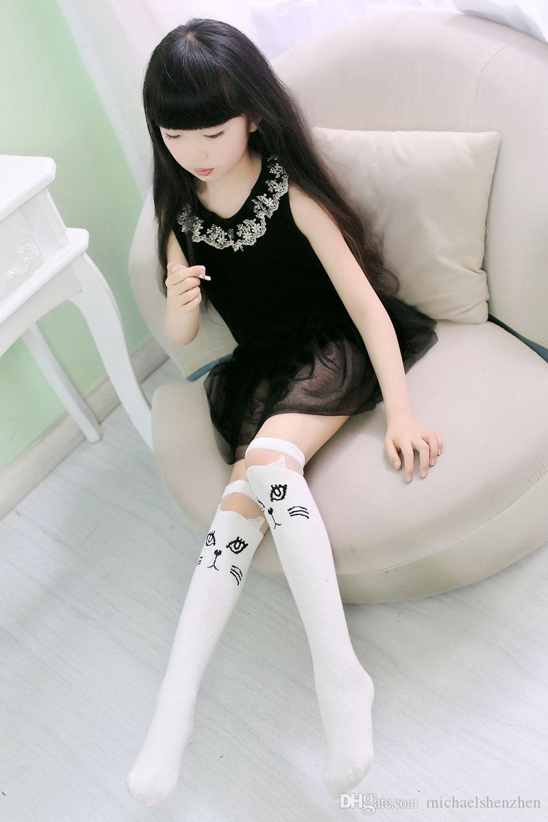 Girls cartoon Lace cat Long socks 2015 NEW lovely Girls 37cm cartoon Lace stripe socks B001