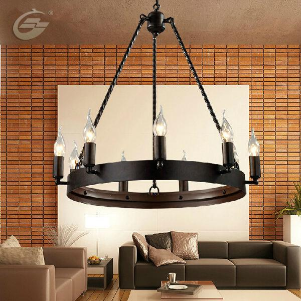 Discount American Country Retro Wrought Iron Industrial Lighting Loft Restaurant Bar Head Round 9/12 Candles Pendant L& Xd 302 Hanging Pendant L& ... : industrial lighting pendants - azcodes.com