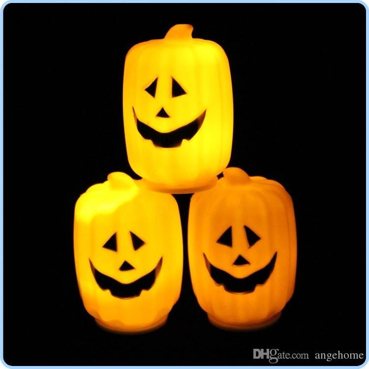 LED Luzes de Abóbora de Halloween Lâmpada de plástico oco grande abóbora balde LED LUZES Decoração Ballons Lâmpadas para Crianças