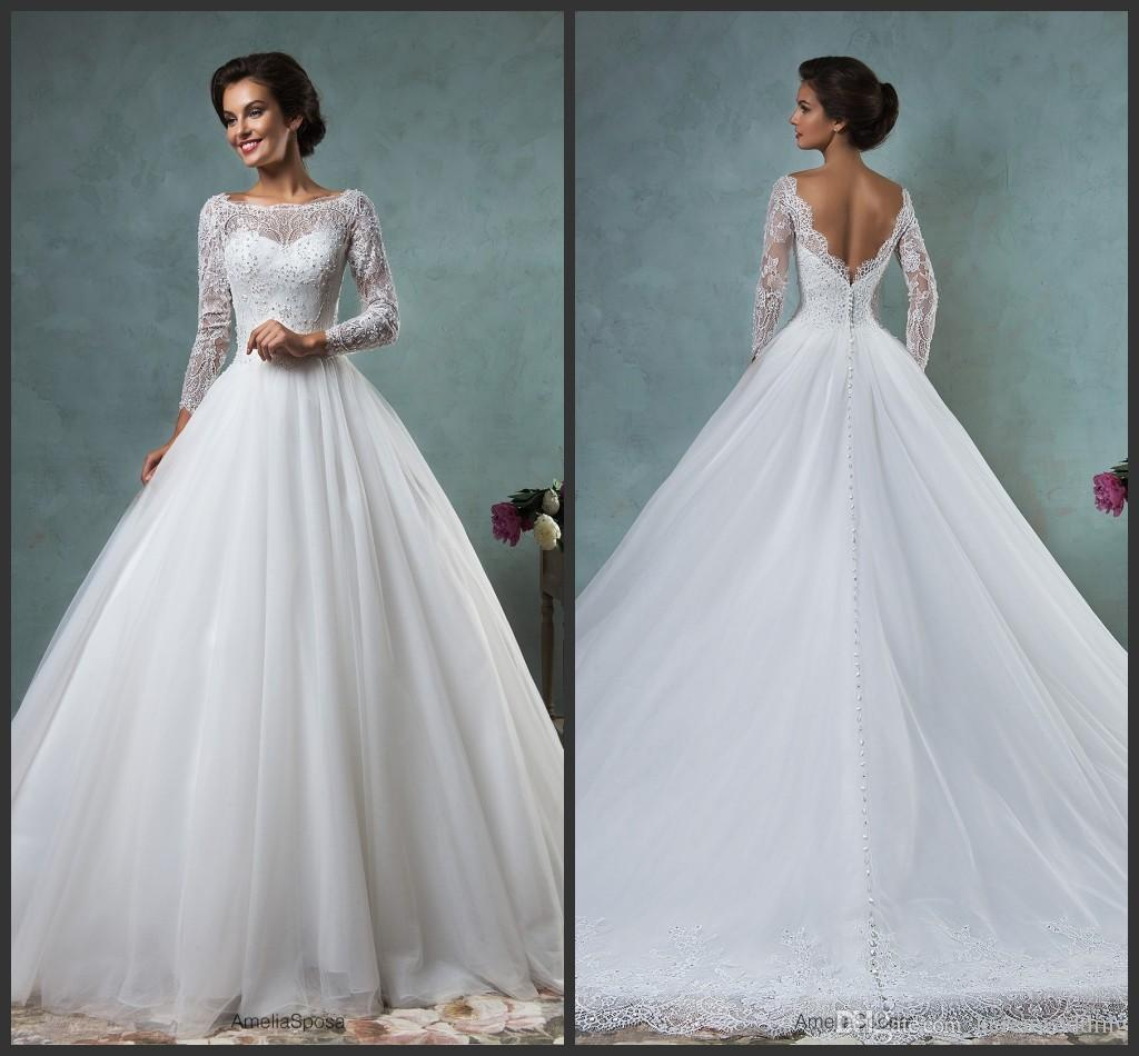 Wedding dresses amelia sposa jessica ball gown 2015 beaded lace wedding dresses amelia sposa jessica ball gown 2015 beaded lace scoop long sleeves kr bridal gowns chapel train v back covered button custom wedding dress ombrellifo Images