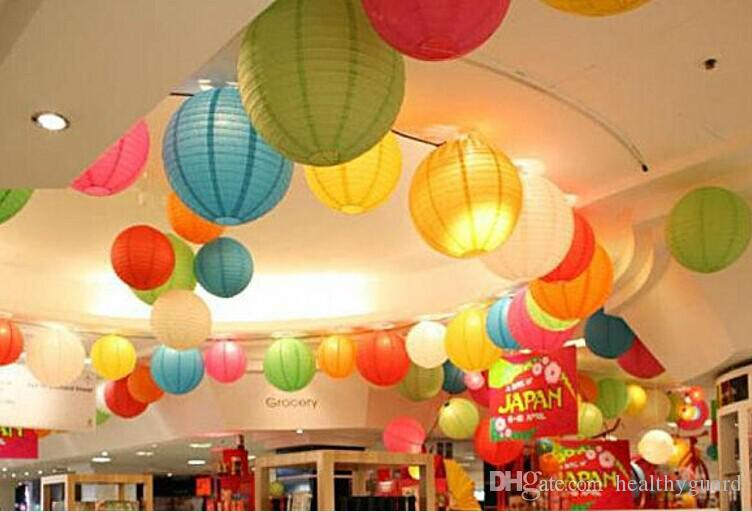 colorful 1230cm chinese paper lanterns with led lights multi color