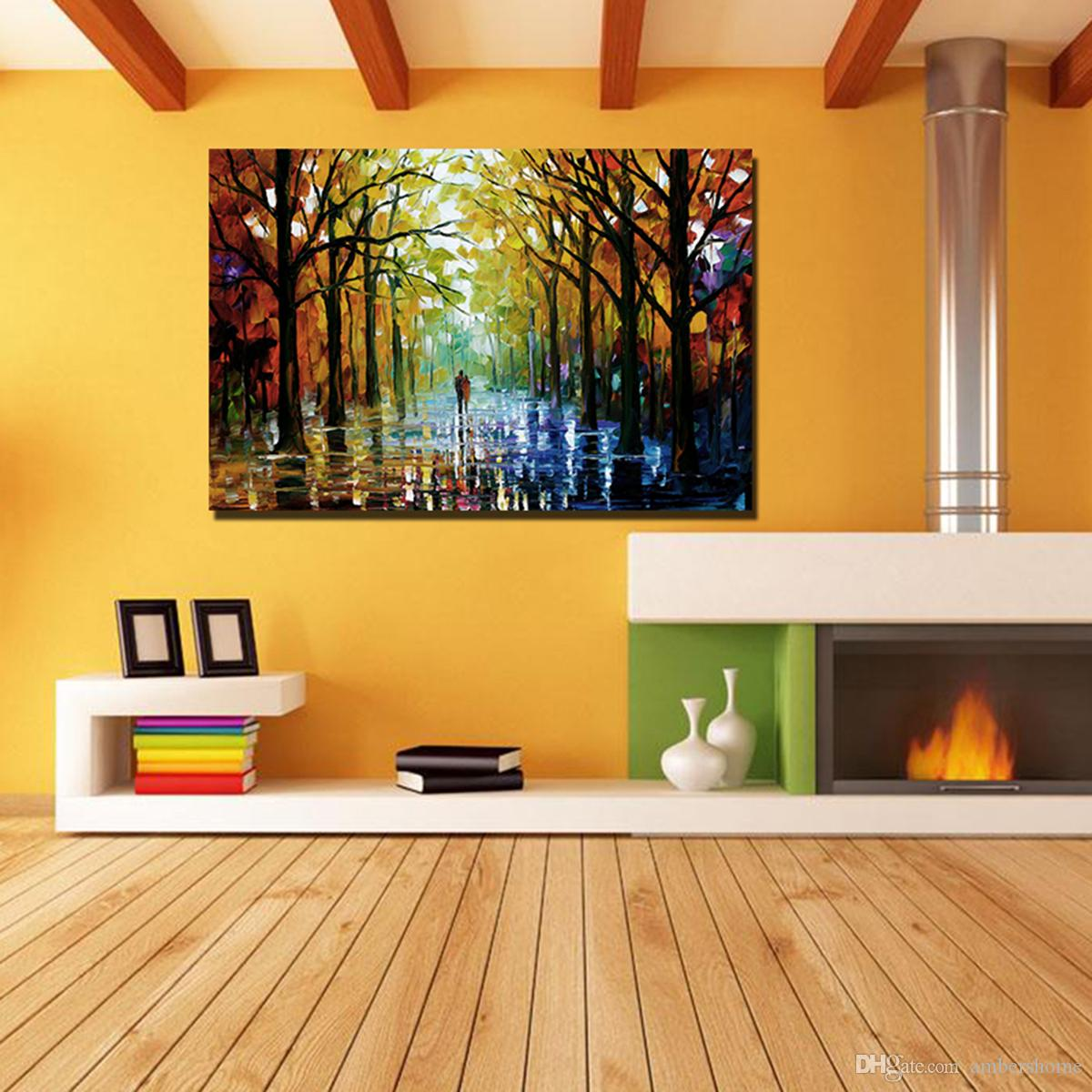 2018 Impressionism Art Woods Sidewalk Hand Painted Painting Canvas ...