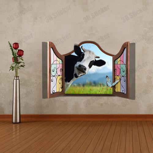 Fake Window Scenery Cow 3d Printer Removable Wallpaper Wall Mural ...
