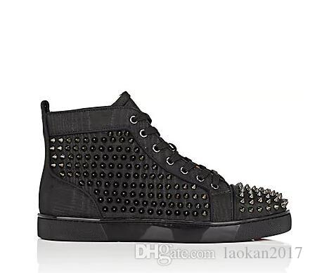 Cheap red bottom sneakers for men Luxury black leather with Spikes fashion casual mens womens shoes ,2016 Designer leisure trainers footwear