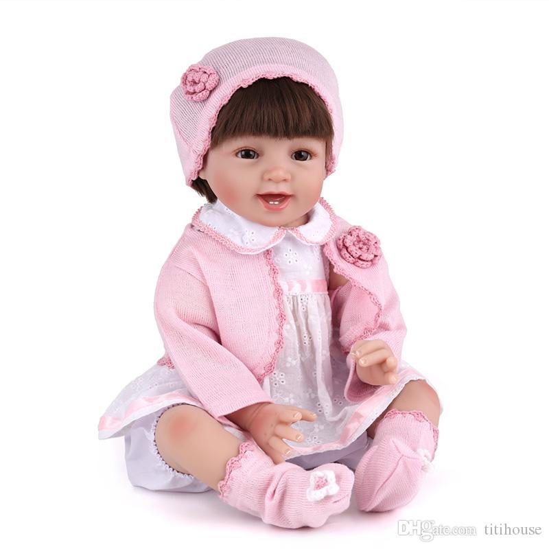 3b5770bc58cf0 22Inches Soft Silicone Vinyl Reborn Baby Doll Cloth Body New Born Baby Doll  Toy Christmas Birthday Gift 18 Girl Doll Wholesale Doll Clothes 18 Inch  Dolls ...
