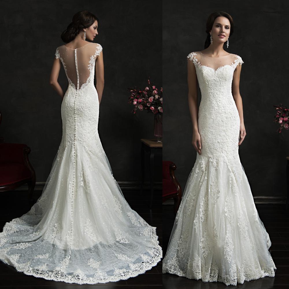 Goddess Wedding Dresses Lace Mermaid Cap Sleeve Bridal Gowns ...