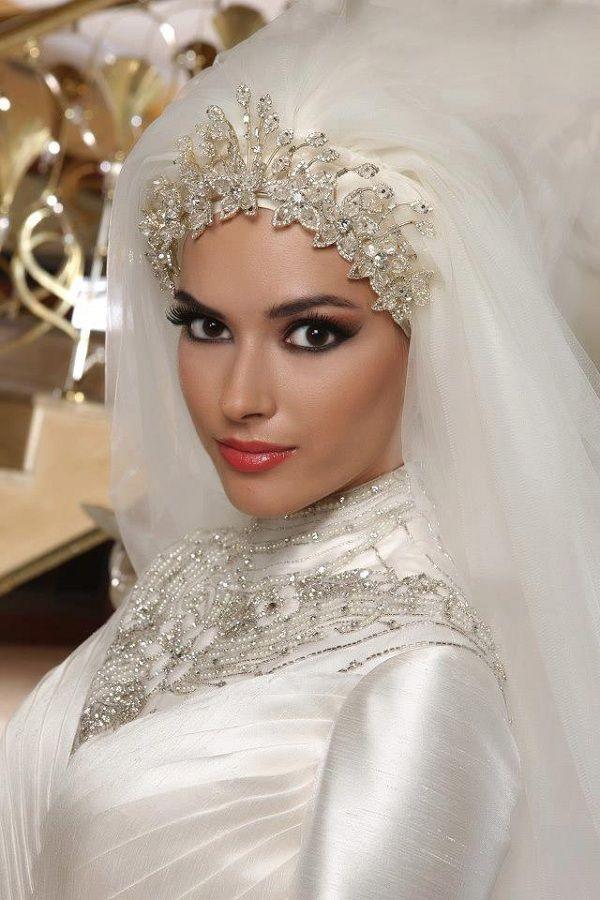 White Tulle Saudi Arabic Muslim Bridal Veil Blink Crystals Hijab Wedding Small Birdcage Types Of Veils From Enjoyprom 583