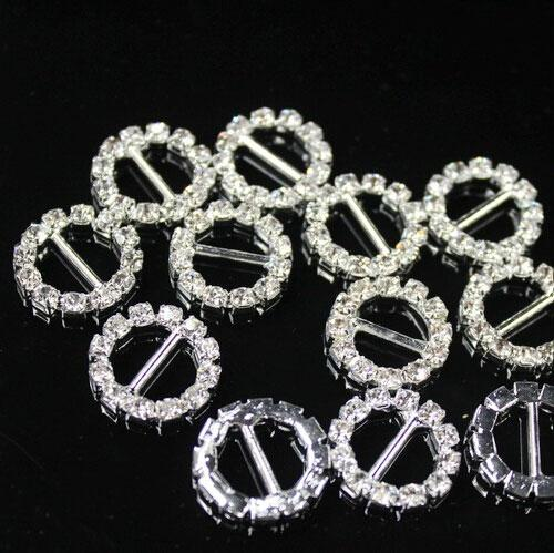 Round Rhinestone Crystal Buckles Brooches 9mm Bar and 10mm Bar Invitation Ribbon Chair Covers Slider Sashes Bows Buckles Wedding Supplies