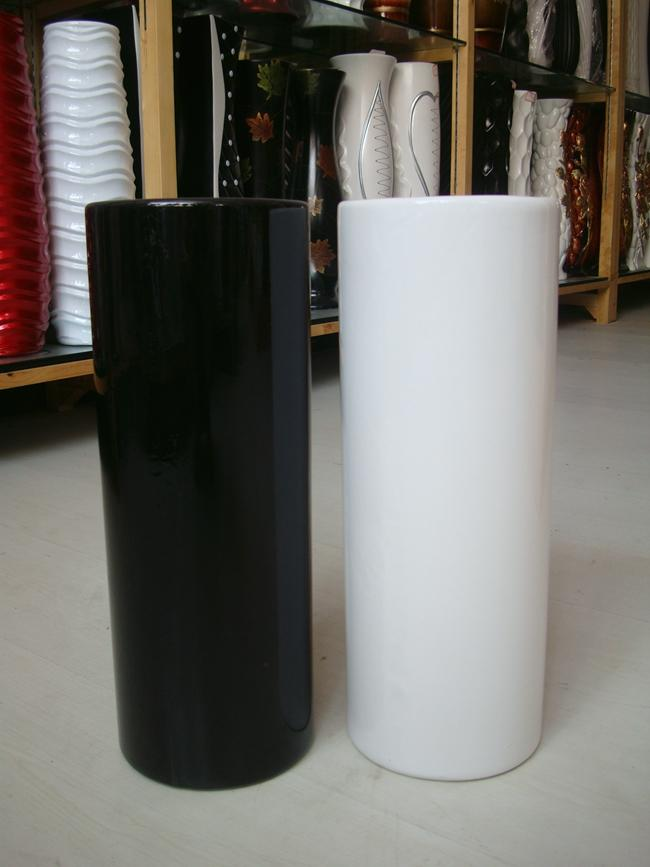 Temperature Ceramic White Or Black Vase Classical Cylinder Planters