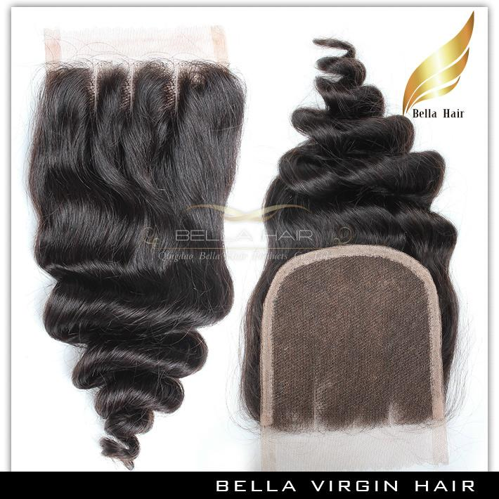 Bella Hair® 8A 헤어 묶음 폐쇄 브라질 확장 Weft Top 레이스 검은 느슨한 웨이브