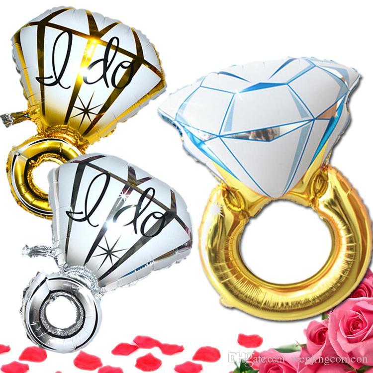 30inch43inch 반지 풍선 대형 다이아몬드 반지 모양 Mylar 풍선 파티 금속 화 된 풍선 결혼식 호 일 풍선 헬륨 풍선