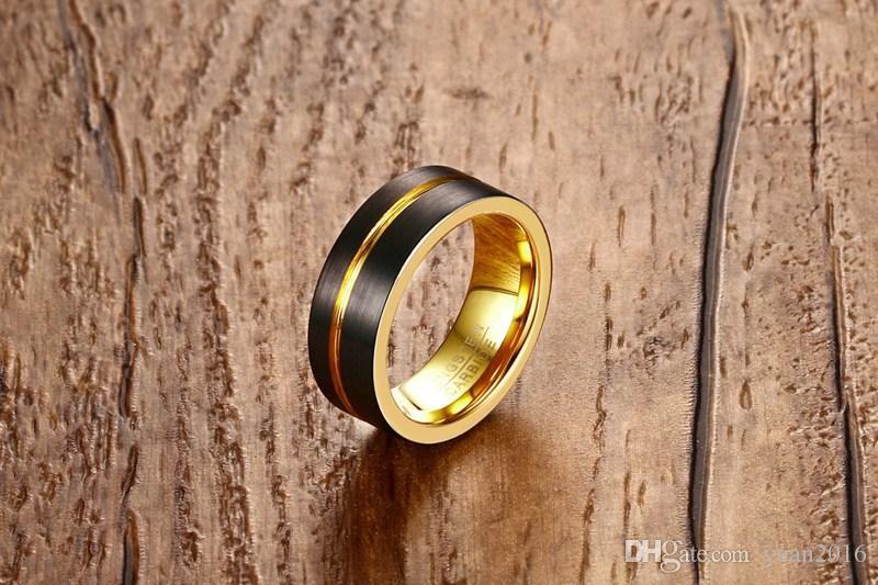 anel de casamento 8 milímetros escovado / preto ouro carboneto de tungstênio mens conforto anel de ajuste VENDA QUENTE nos EUA e Europa