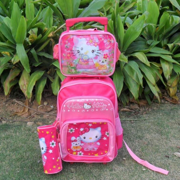 In New Hello Kitty Mochilas Kids Cartoon Trolley School Bag Set ...