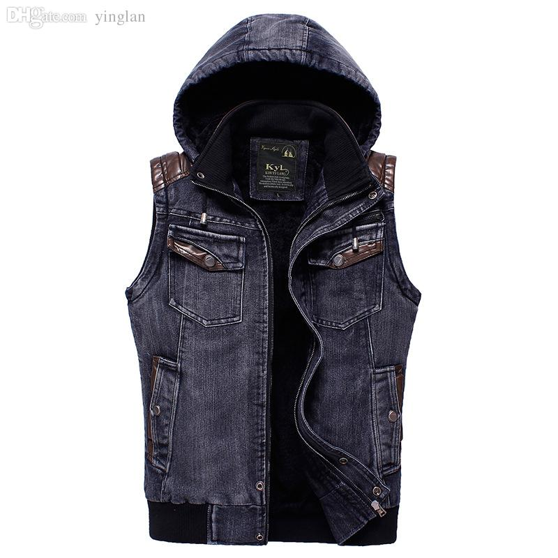 Best Fall Denim Hooded Vest For Men Sleeveless Jean Jacket ...