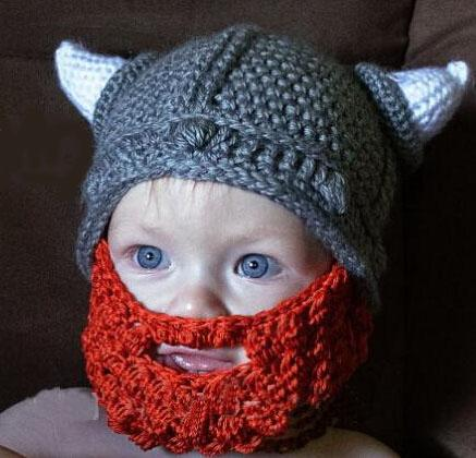 Christmas Crochet Viking Helmet Hat W  Beard Knitted Viking Helmet Dwarf Viking  Hat W  Horn Newborn Infant Toddler Children S Beanie Cotton Canada 2019  From ... 97e34184a7a