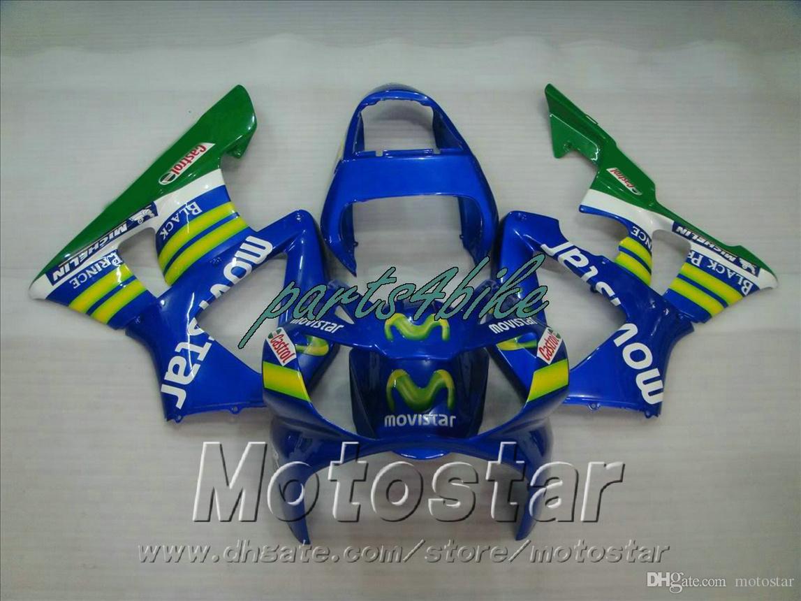 New! Fit for HONDA CBR900RR fairing kit CBR929 2000 2001 bodykits CBR 900 RR 00 01 green blue movistar fairings HB78