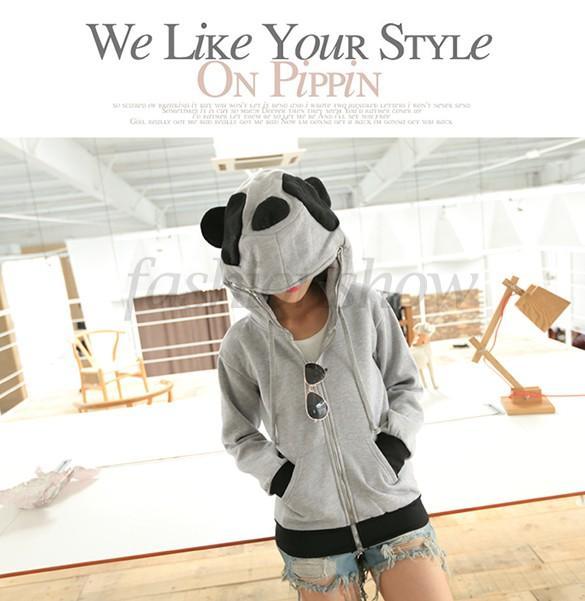 Venta al por mayor 2014 mujeres de moda caliente con capucha caliente lindo Panda con capucha prendas de abrigo chaqueta chaqueta B19 SV007946