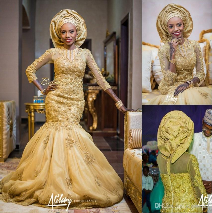 2015 Gold African Traditional Lace Wedding Gowns Beaded