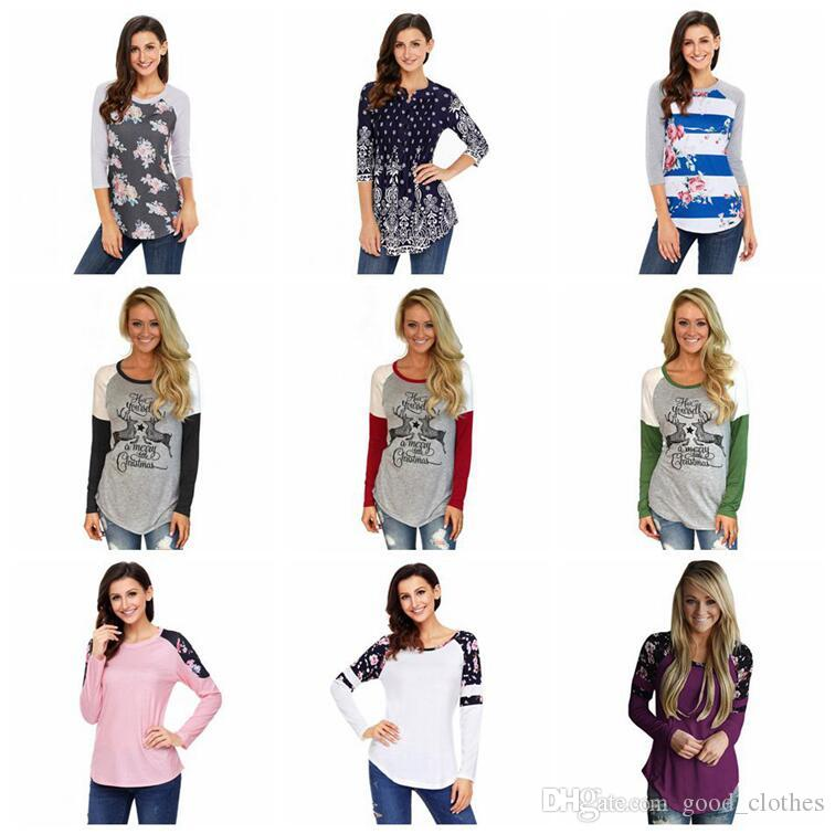 3611020f3d9 Women Tops Christmas Shirts Flower T Shirt Print Blouse Slim Casual Fashion  Leisure Long Sleeve Tees Loose Tank 53 Styles OOA3717 Funny Graphic T Shirts  ...