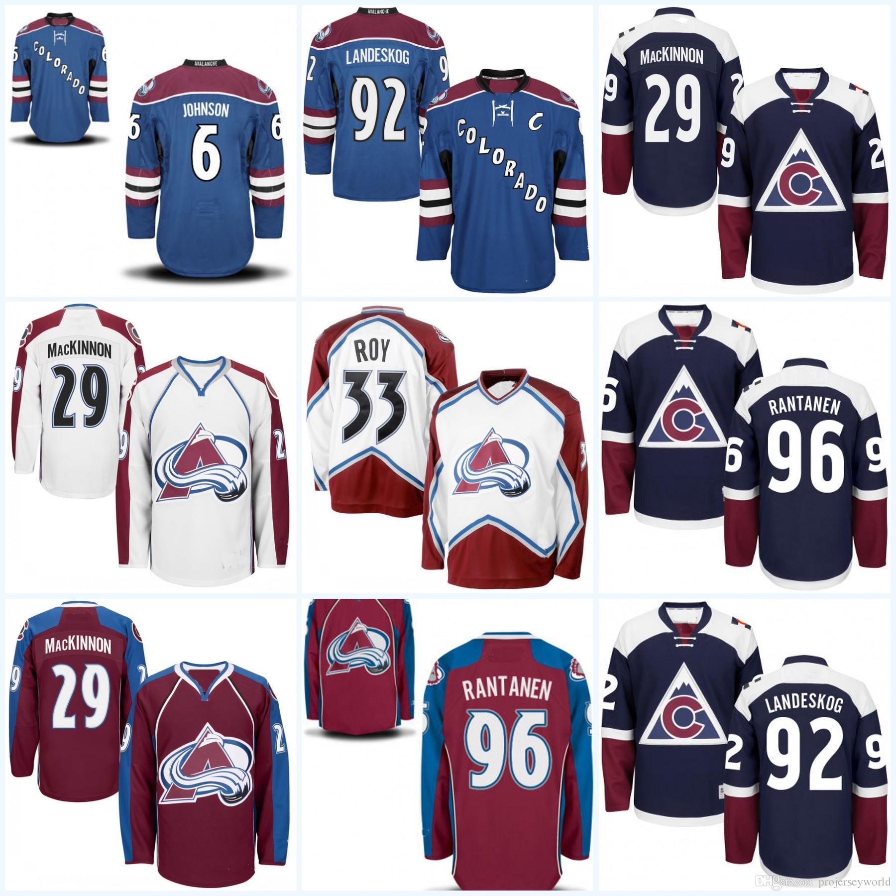 1329ef340 Youth Colorado Avalanche 33 Patrick Roy 29 Nathan MacKinnon 9 Matt ...