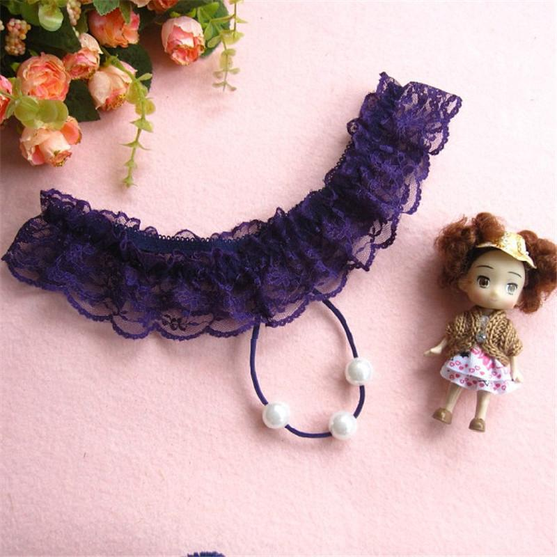 Mulheres quentes Sexy Lingerie Erótica Baby Dolls G corda G-String Thong Underwear Pérola Rendas Calcinhas T Voltar Senhoras Menina Frete Grátis XD