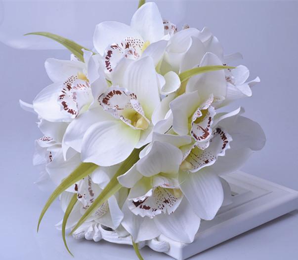2018 F010 Silk Flower Wedding Bouquet Artificial Orchid Flowers ...