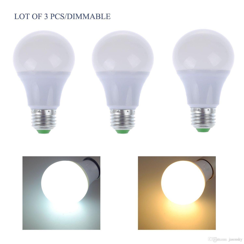 Pack Of 3 Dimmable Led A19 Light Bulbs 110v 7w E27 Base 60 Watt ...